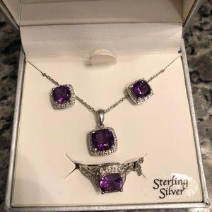 Sterling Silver & Amethyst Set